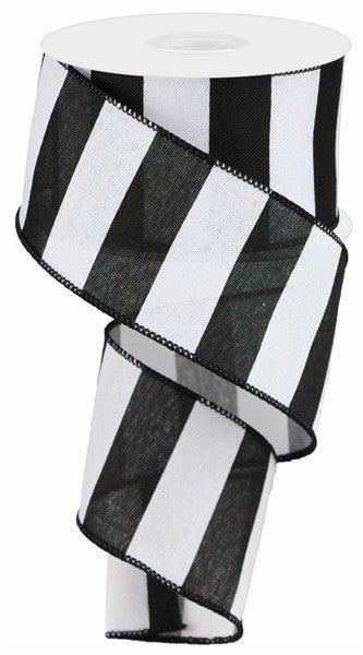 """2.5""""X10yd Wide Stripe On Royal Black/White"""