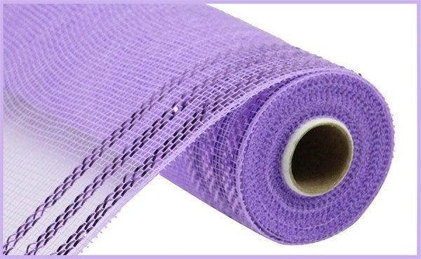 """10.25""""X10YD BORDER STRIPE METALLIC MESH Lavender/w lavender"""