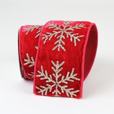 "GLITTER SNOWFLAKES - 4"" X 10YD / RED"