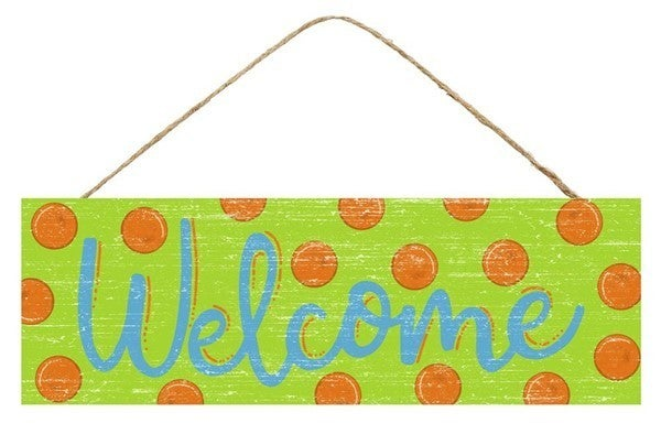 """15""""L X 5""""H WELCOME W/DOTS SIGN Lime"""