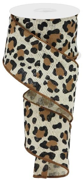 "2.5""X10yd Leopard On Cotton/Met Color: Ivory/Gold/Black/Brown"