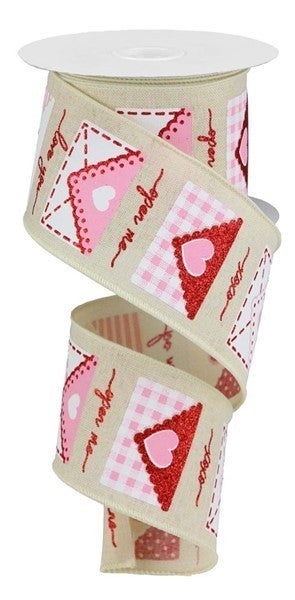 "2.5""X10yd Love Letters On Royal Cream/White/Red/Pink"