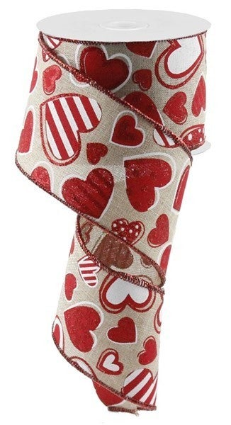 """2.5""""X10yd Patterned Hearts On Royal Color: Natural/White/Red"""