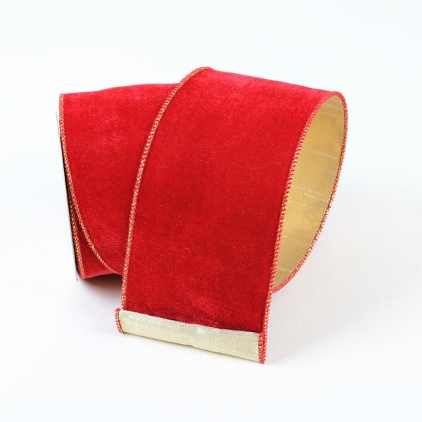 "VELVETEEN  2.5"" X 10YD / RED GOLD"