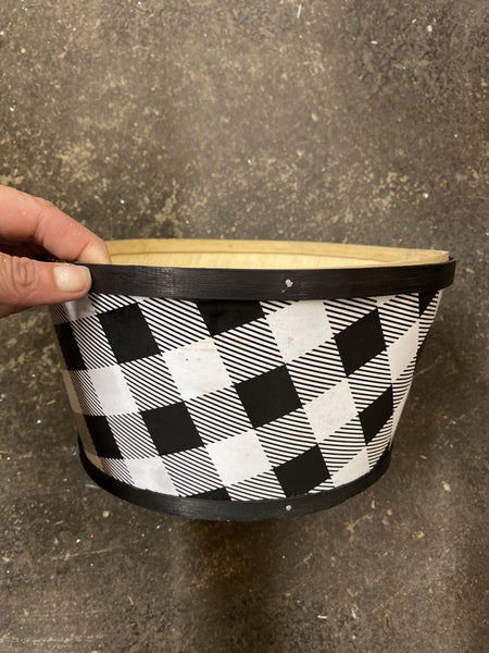 "9.5""Dia x 4.75""H Printed Check Pot Cover Black/White"