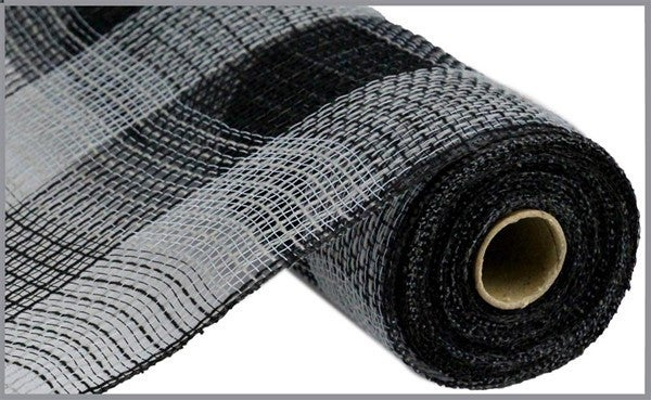 "10.5""X10yd Fabric Mesh Faux Jute/Pp Large Check Grey/Black"
