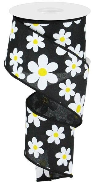 "2.5""X10YD FLOWER DAISY PRINT ON ROYAL BLACK/WHITE/YELLOW"