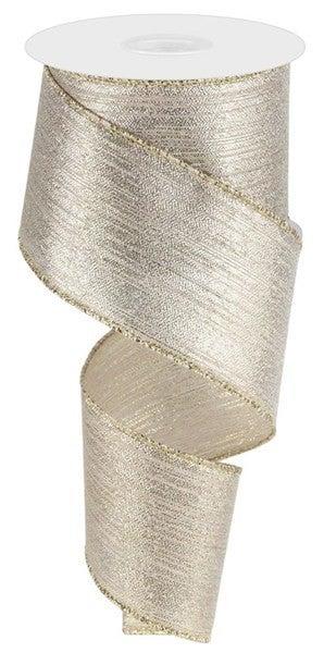"2.5""X10yd Vertical Metallic Stripe Champagne"