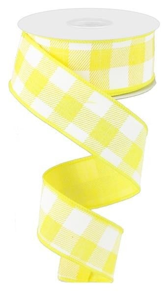 "1.5""X10yd Check On Royal  Yellow/White"