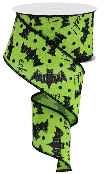 "2.5""X10yd Bats On Royal Lime"