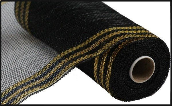 "10.25""X10yd Border Stripe Metallic Mesh Color: Black/18K Gold"