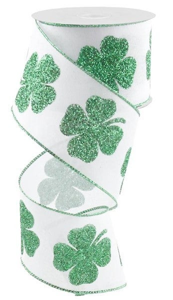 "2.5""X10yd Bold Clover Print On Royal White"