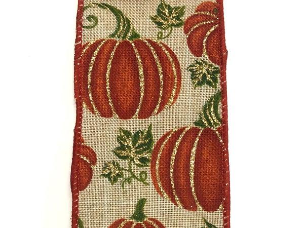 """Lt Natural Linen Pumpkins 2.5""""x10yd"""
