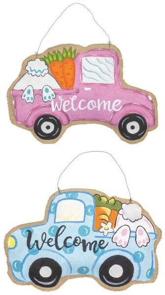 Burlap Welcome Easter Truck Hanger