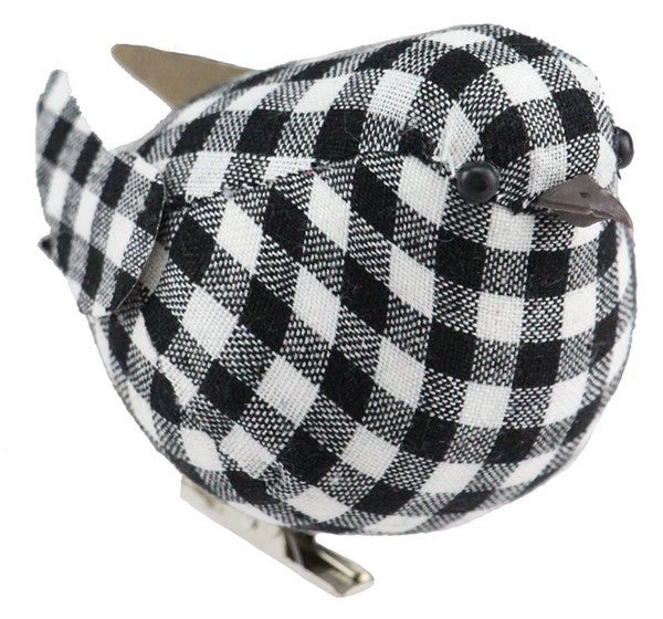 "4.75""L Chubby Check Fabric Bird W/Clip Black/White Box of 12"