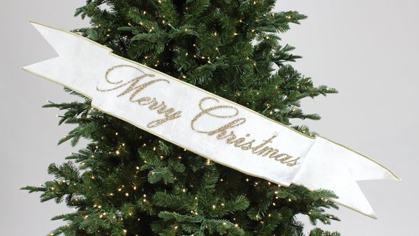 "MERRY CHRISTMAS BANNER - 6"" X 48"" / WHITE"