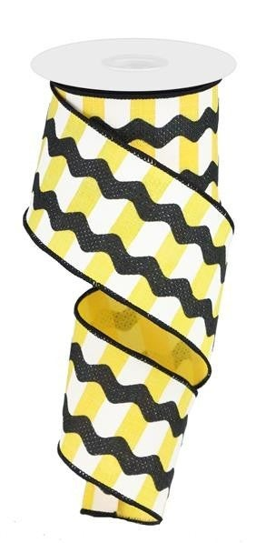 "2.5""X10YD FANCY RICRAC ON STRIPES YELLOW/WHITE/BLACK"