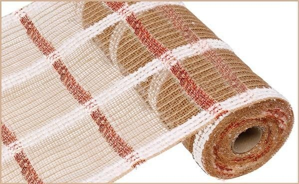 "10.5""X10yd Snowdrift/Jute/Tinsel Check natural/red/white"