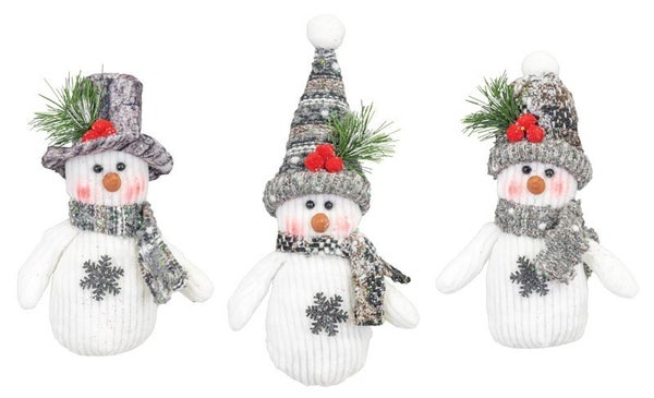 GREY TIMBER LAND SNOWMAN ORNAMENT