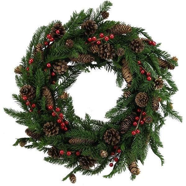 "28""Dia Spruce/Fir/Mixed Pinecone Wreath"