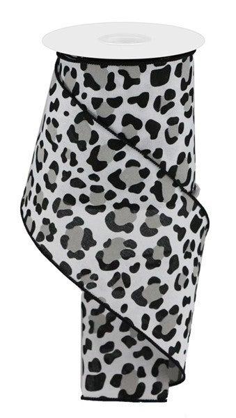 "4""X10yd Leopard Print/Faux Ryl Color: White/Black/Grey"