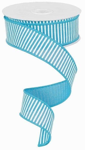 "1.5""X10yd Horizontal Stripes/Royal Turq/White"