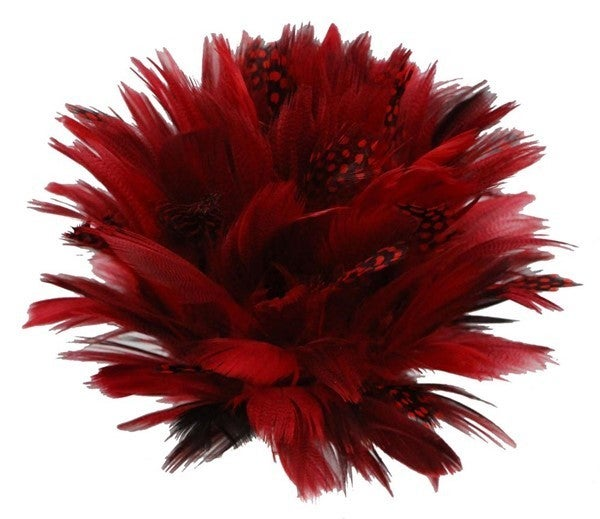 "7""Dia Feather Flower, W/Clip RED"