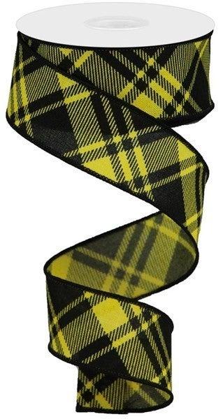 """1.5""""X10YD DIAGONAL STRIPE/CHECK ON ROYAL. Yellow/Black"""