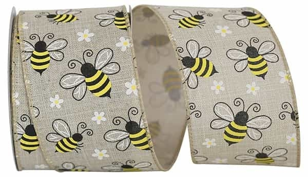 """BUMBLE BEES LINEN WIRED EDGE 2.5""""x10yd natural"""