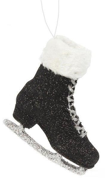 """6.25""""H Glitter Skate W/Fur Orn Black"""