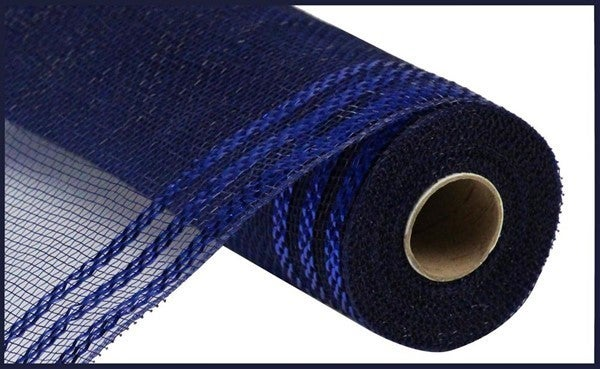 "10.25""X10yd Border Stripe Metallic Mesh Color: Navy W/Royal Blue Foil"