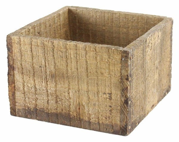 "7.75""Sq X 5.25""H Rough Wood Pot"