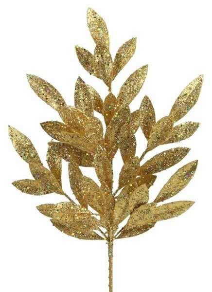 "23.5""L Glitter Bay Leaf Spray Gold - one stem"