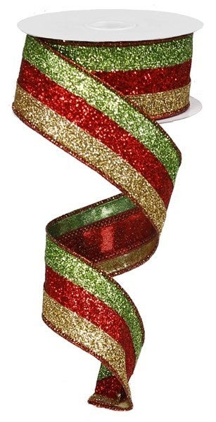 """1.5""""X10yd 3 In 1 Glitter Lime/Red/18K Gold"""