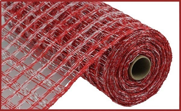 "10""X10yd Two-Tone Poly Burlap Check Mesh Red/White"