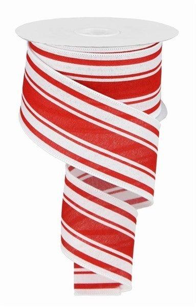 """2.5""""X10yd Farmhouse Stripe On Royal White/ Farmhouse Red"""