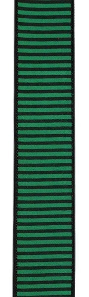 "1.5""X10yd Horizontal Thin Stripes On Pg Emerald Green/Black"