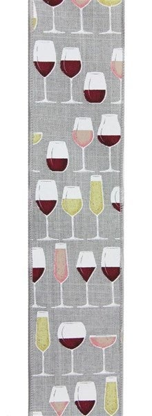 "2.5""X10yd Wine Glasses On Royal Burlap Color: Lt Gry/Crm/Wht/Gld/Bgdy"