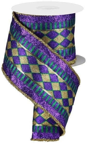 "4""X10yd 3-In-1 Harlequin/Stripe/Tinsel Mardi Gras"