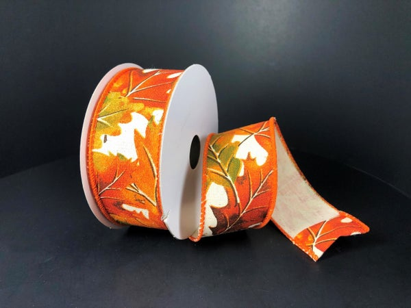 """Ivory Canvas/Fall Leaves 1.5""""x10yd"""