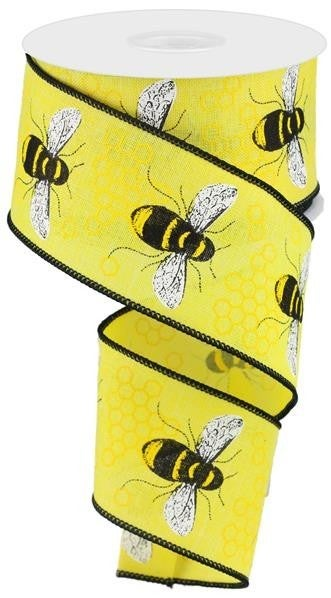 "2.5""X10yd Honey Bee On Royal  Yellow/Black"