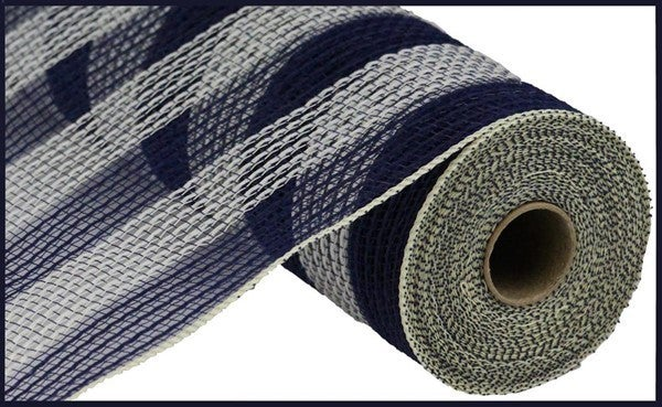 "10.5""X10yd Faux Jute/Pp Small Stripe Navy Cream"