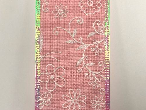 "PINK LINEN/WHT-IRID FLWRS-BEES, 2.5""X10Y"