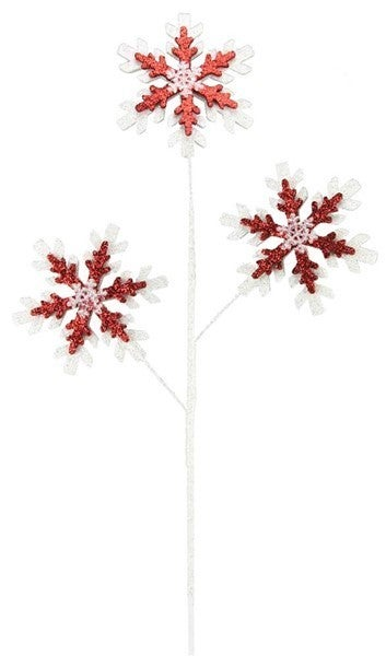 "28""H Eva/Glitter 6"" Snowflake Spray Red/White"