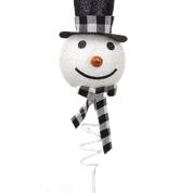 Snowman Head Scarf Pick H18 Bl/Wh