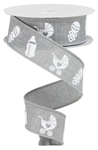 "1.5""X10yd Baby Items On Royal Light Grey"