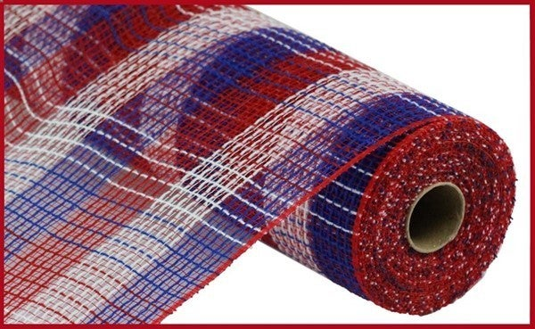 "10.5""X10yd Pp/Faux Jute Small Check Mesh Red/White/Blue"