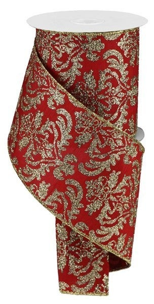 "4""X10yd Bold Damask/Faux Dupioni Red/Lt Gold"