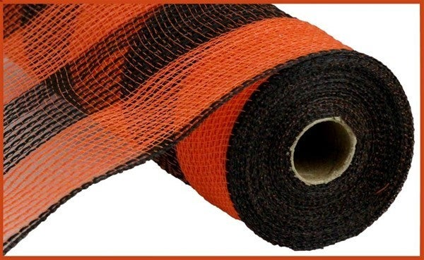 "10.5""X10yd Faux Jute/Pp Wide Stripe Black/Orange"