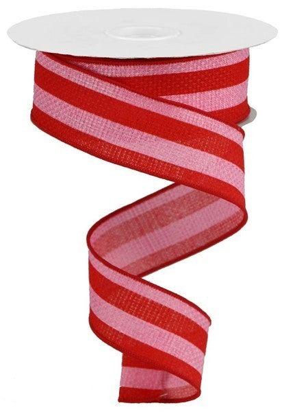 "1.5""X10yd Vertical Stripe On Cross Royal Pink/Red"